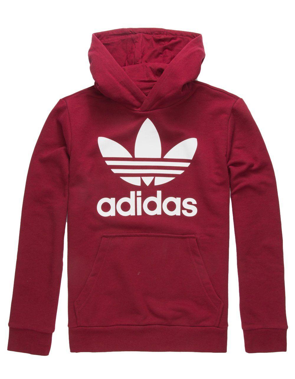72c4d0ad3 adidas Originals Kids Unisex Trefoil Hoodie Little Kids/Big Kids Collegiate  Burgundy/White Large *** For more information, visit image link.