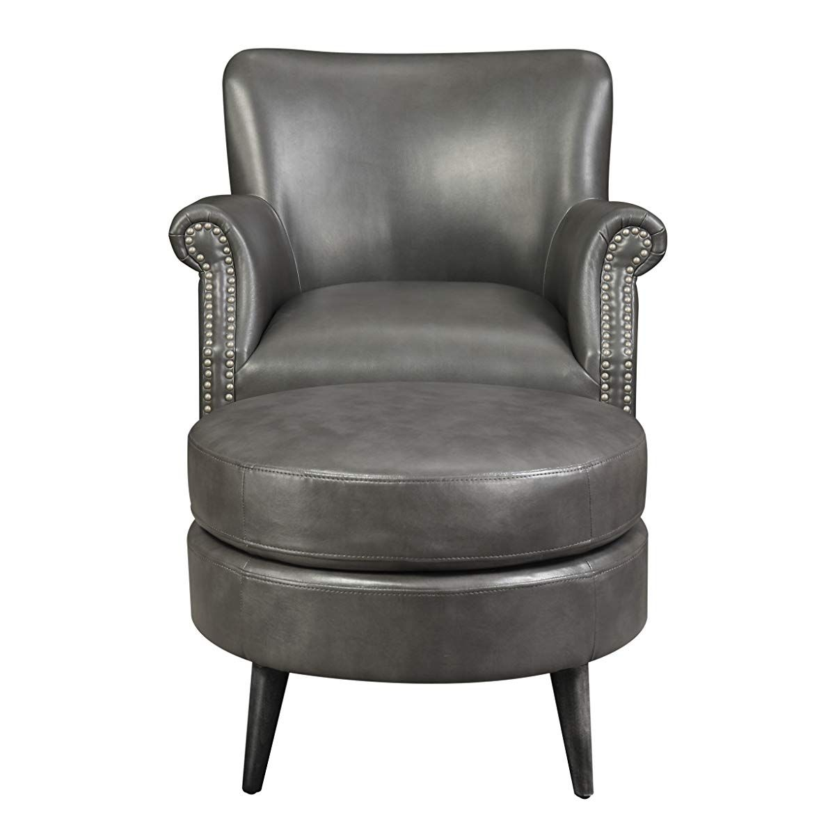 Gray Accent Chair And Ottoman With Faux Leather Upholstery And Nailhead Trim Chair And Ottoman Grey Leather Chair Grey Accent Chair