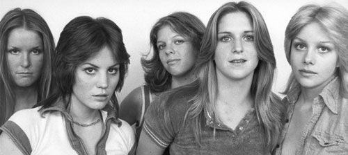 The Runaways With Typical '70s Hairstyles, Centre Partings