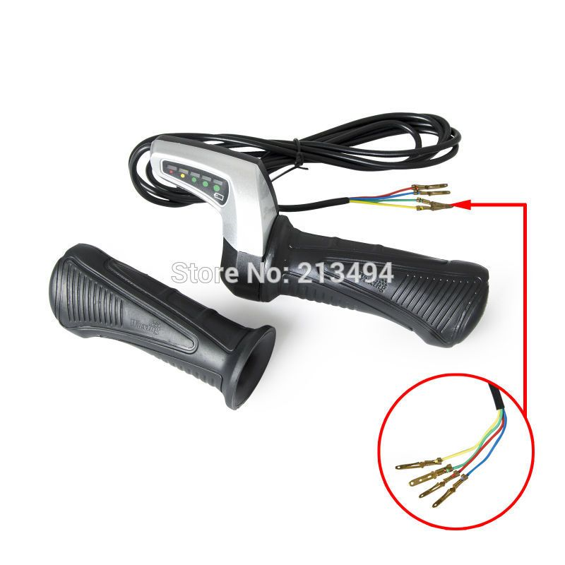 24V 36V 48V Electric Bicycle Throttle Twist Grip With LED Battery ...
