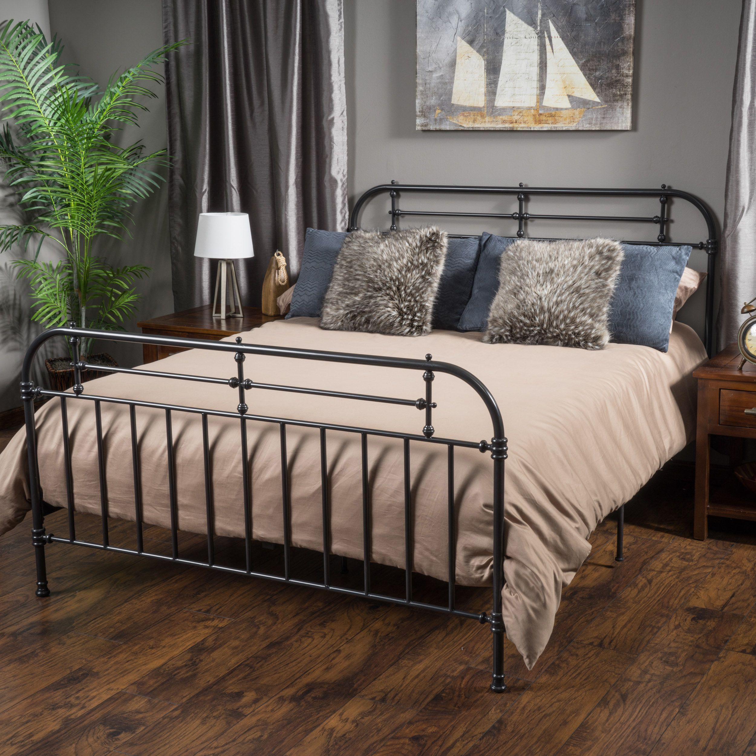 nathan king size metal bed frame by christopher knight home by christopher knight home - Sturdy Bed Frames