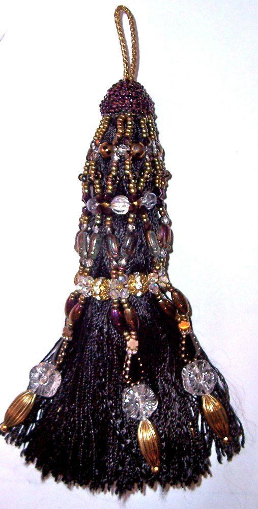 Linda Kenmore - Black Gold Aubergine Crystal Hand Beaded Tassel Decorative Accessory
