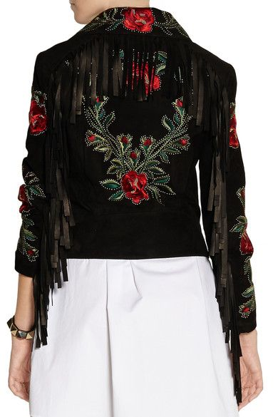 Moschino   Fringed embroidered suede biker jacket   NET-A-PORTER.COM