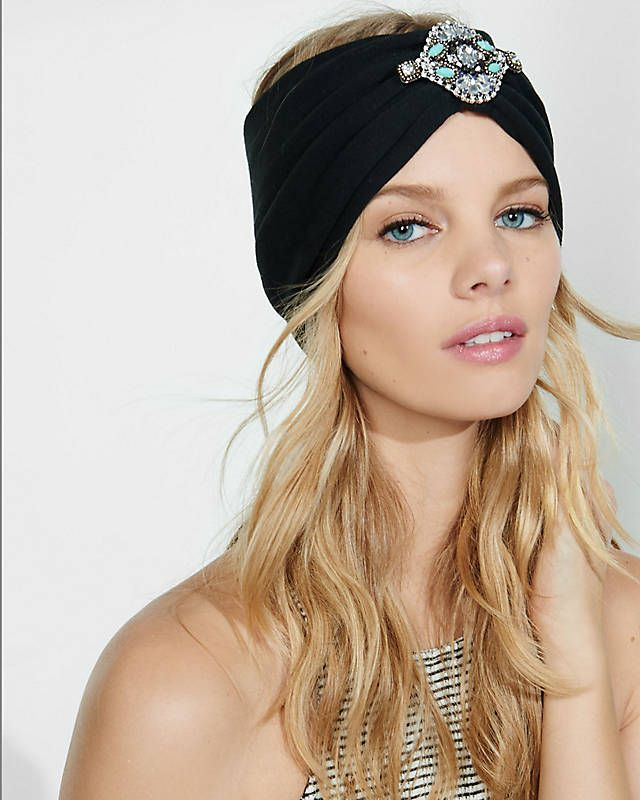 Black Embellished Turban Headband from EXPRESS  f79d2d26184