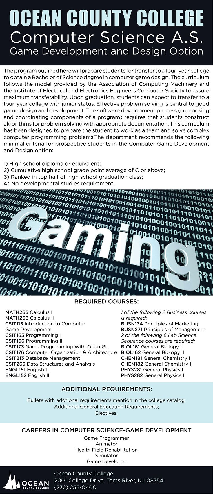 Computer Science A.S. Game Development and Design Option