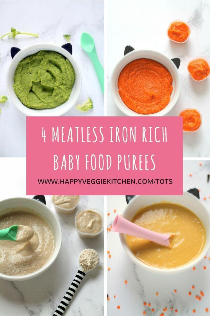 4 Meatless Iron Rich Baby Food Puree Recipes #homemadebabyfood