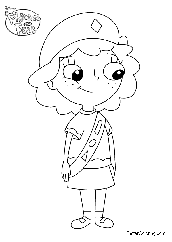 Phineas And Ferb Coloring Pages Milly Png 598 844 Cartoon Drawings Kawaii Girl Drawings Phineas And Ferb