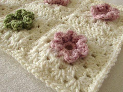EASY crochet pretty puff stitch flower blanket - flower granny ...