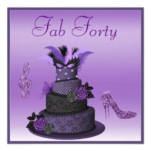 Fab 40 Purple Diva Cake Sparkle Heels Birthday Card Diva cakes