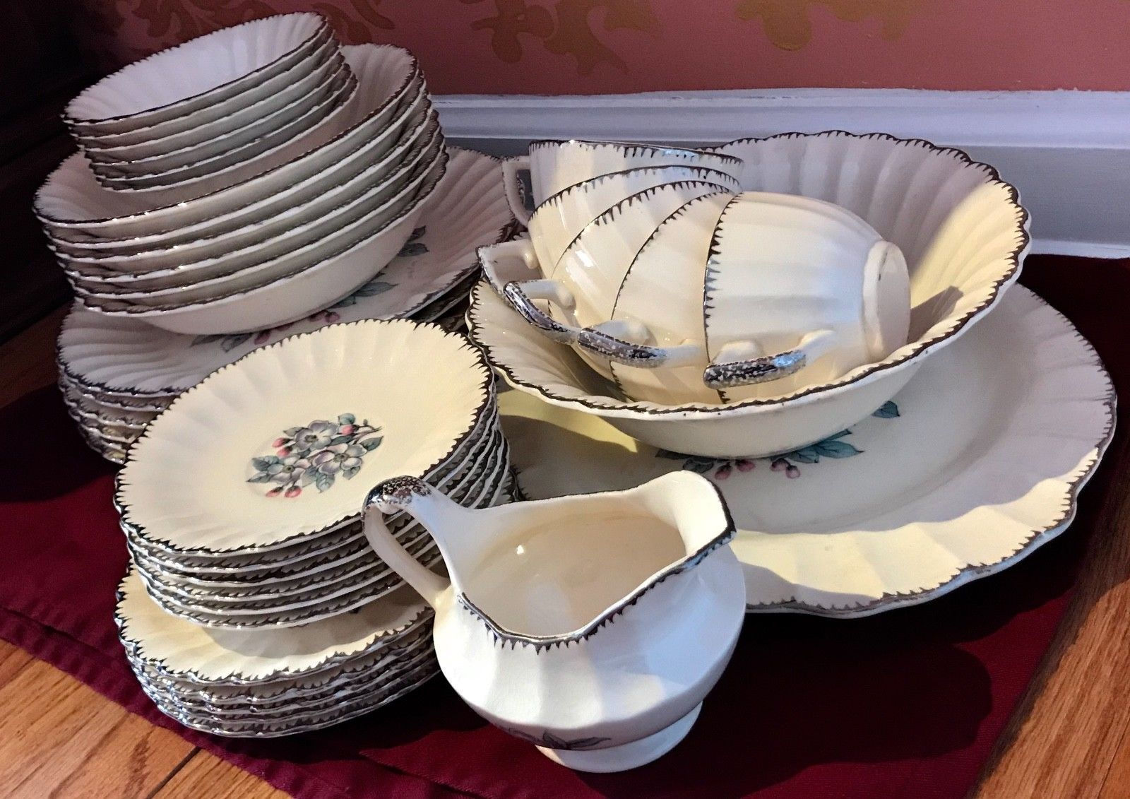 Pre-1950u0027s American Limoges Dinnerware Set with Silver plated Silverware & Pre-1950u0027s American Limoges Dinnerware Set with Silver plated ...