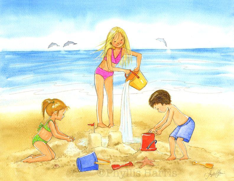 Kid\'s Wall Art - #Building Sandcastles on the Beach - #Ocean themed ...