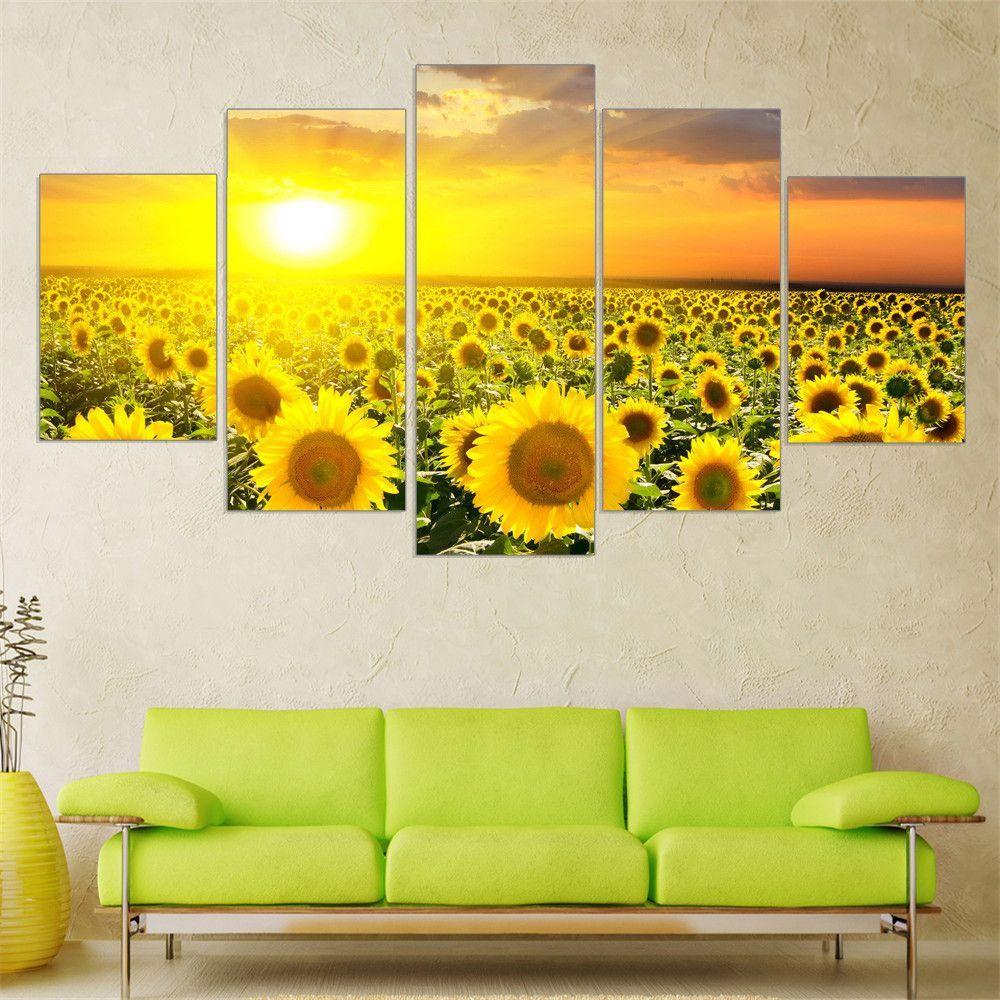 Sunflower Field, 5 Piece Panel Wall Art Set   Products, Wall art ...
