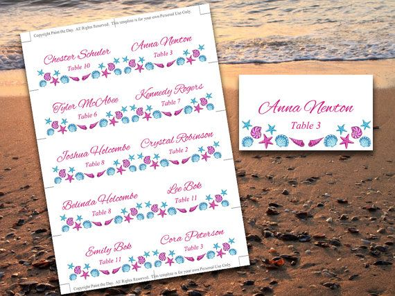 Seashell Beach Wedding Place Cards Microsoft Word Template - microsoft word greeting card template