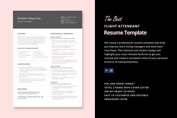 Flight Attendant Resume Template By Elissa Bernandes On