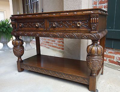 Miraculous Antique English Carved Tiger Oak Hall Table Sideboard Buffet Caraccident5 Cool Chair Designs And Ideas Caraccident5Info
