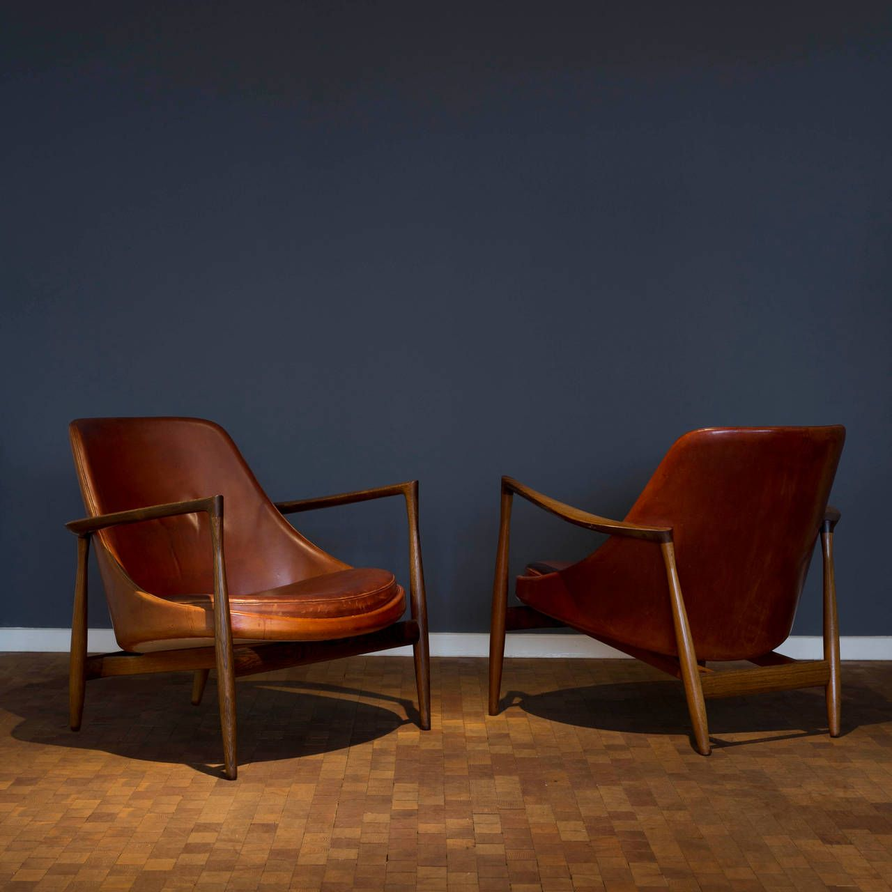 Pair of Ib KofodLarsen Rosewood Elizabeth Chairs for Christensen and Larsen is part of Chair - View this item and discover similar lounge chairs for sale at 1stdibs  A pair of Ib Kofod Larsen Elizabeth lounge chairs  Exposed frame of Brazilian Rosewood upholstered with natural dyed leather  Designed by Ib Kofod Larsen