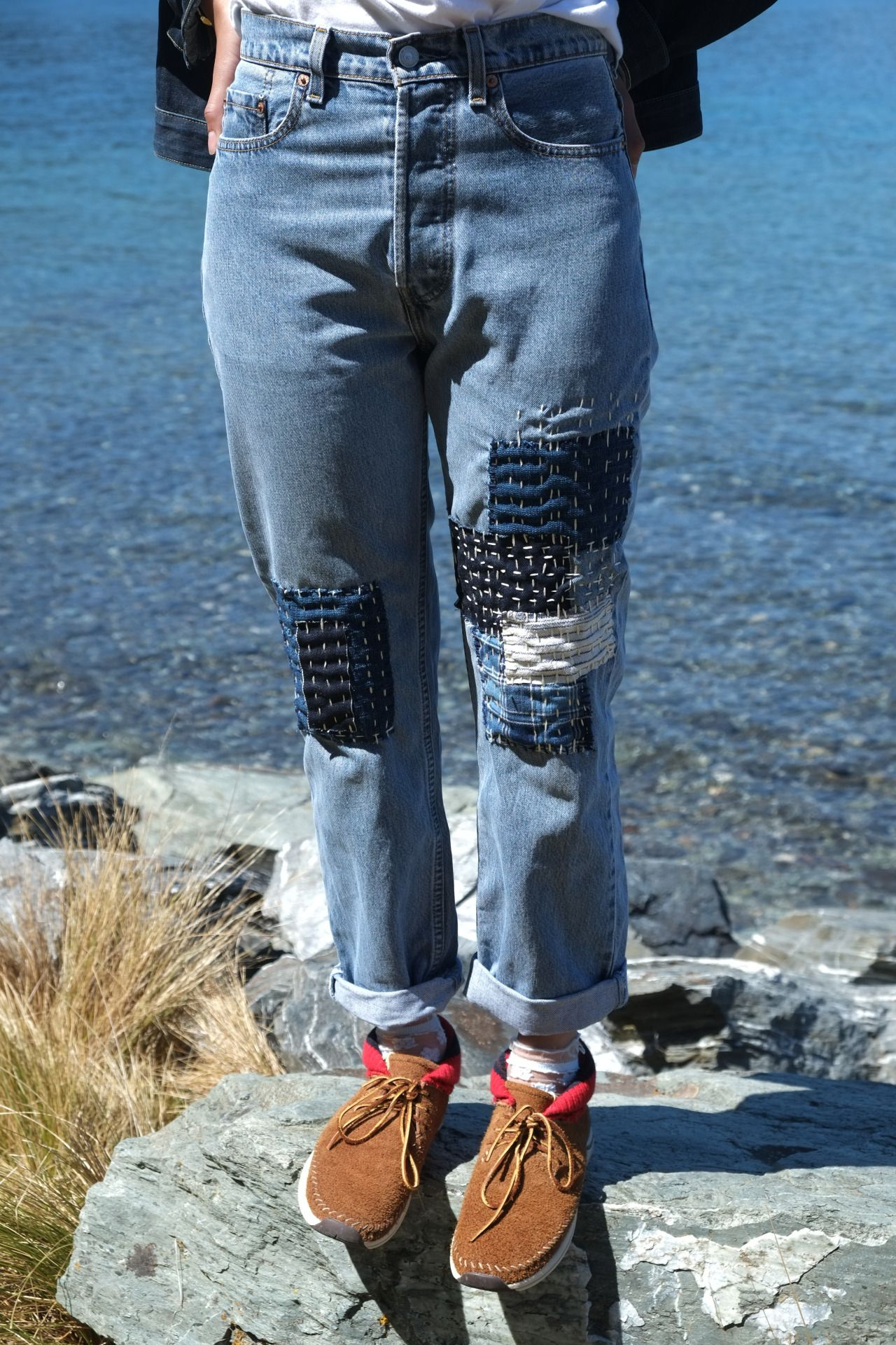 Patchwork jeans available at www.nawato.com