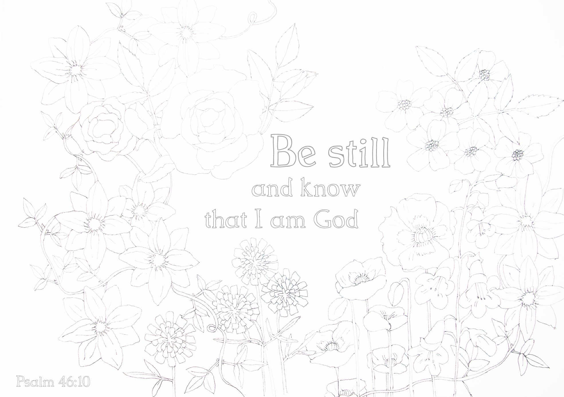 Printable Colouring Sheet Based On Psalm 46 10 Be Still