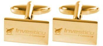 Set rechthoekige gouden manchetknopen gegraveerd