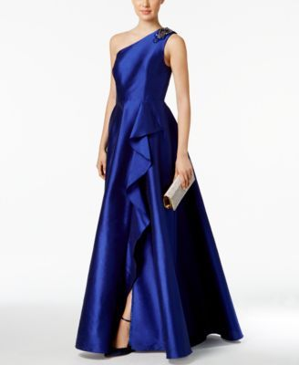 06dff4fac5d Adrianna Papell Draped One-Shoulder Faille Gown