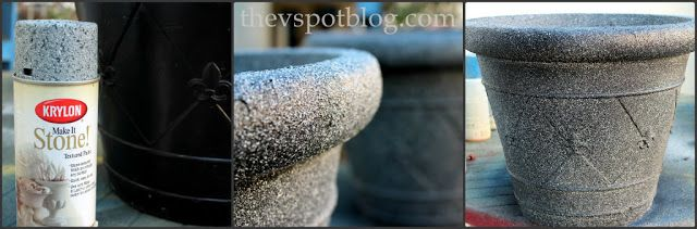 Saving tired old flower pots with textured spray paint In the