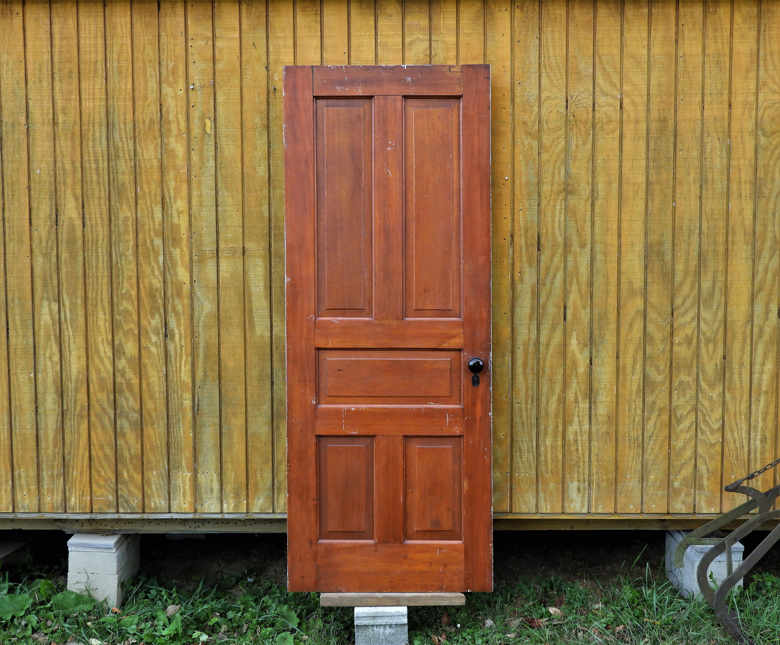 Antique Interior Door Architectural Salvage Solid Wood Home Decor Distressed White Red Brown Cypress 76 13 16 Tall X 30 Wide Antique Interior Architectural Salvage Making Barn Doors