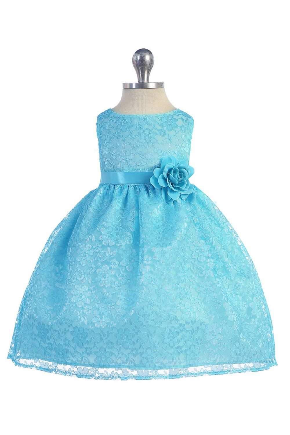 Turquoise Lovely Floral Lace Baby Girl Dress | Turquoise, Baby girl ...