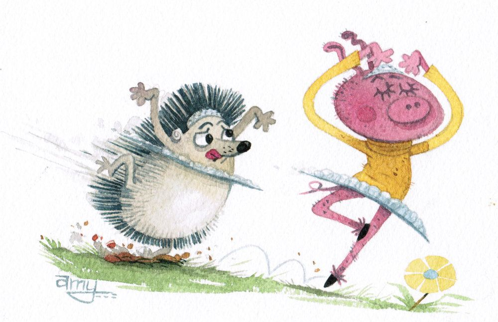Twirly Dancing Hedgehog And Ballet Pig Watercolor Cartoon