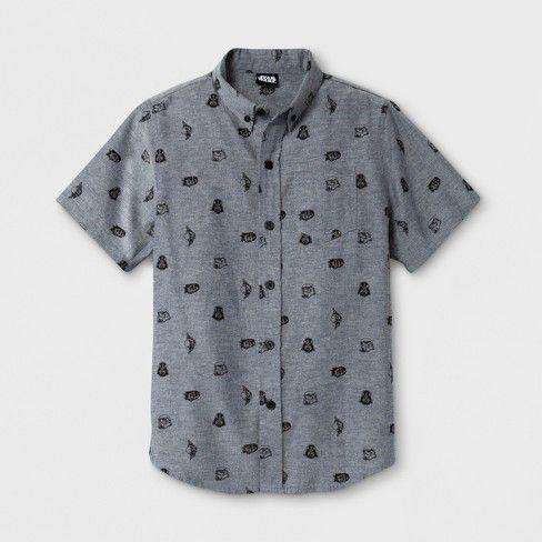 0d0917e8d Boys' Star Wars Short Sleeve Button-Down Shirt - Dark Chambray M : Target