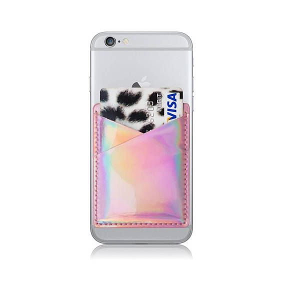 8f8dc029061 Holographic Phone Card Holder, Card Holder For Phone, Stick On Phone ...
