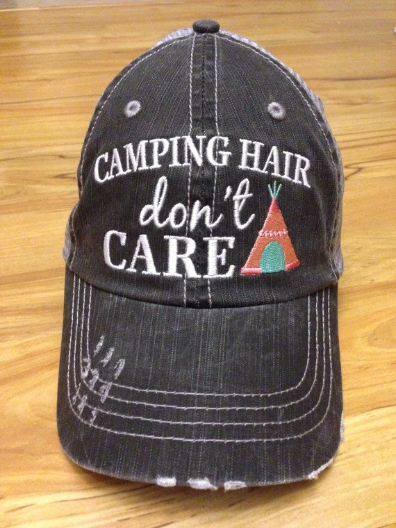 fcb816bbde302 Camping Hair Don't Care Trucker Style Hat by PetalBowtique on Etsy ...