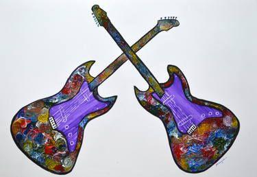 "Saatchi Art Artist Manjiri Kanvinde; Painting, ""Original abstract Guitar painting colorful modern wall decor by Manjiri Kanvinde"" #art"