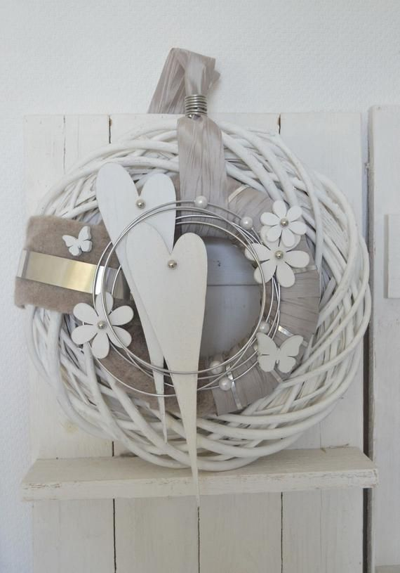 Photo of Items similar to door wreath wall wreath 40 cm hearts white / light brown on etsy