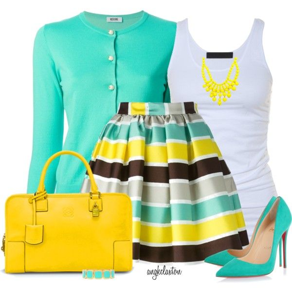 A fashion look from March 2015 featuring Moschino Cheap & Chic cardigans, Tusnelda Bloch tops and MSGM skirts. Browse and shop related looks.