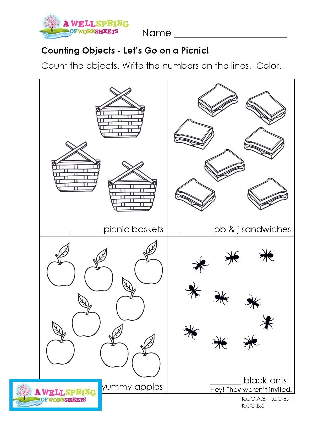 Math Counting Objects Worksheets Kindergarten