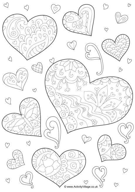 Doodle hearts colouring page | awnyák napja | Pinterest | Doodles ...