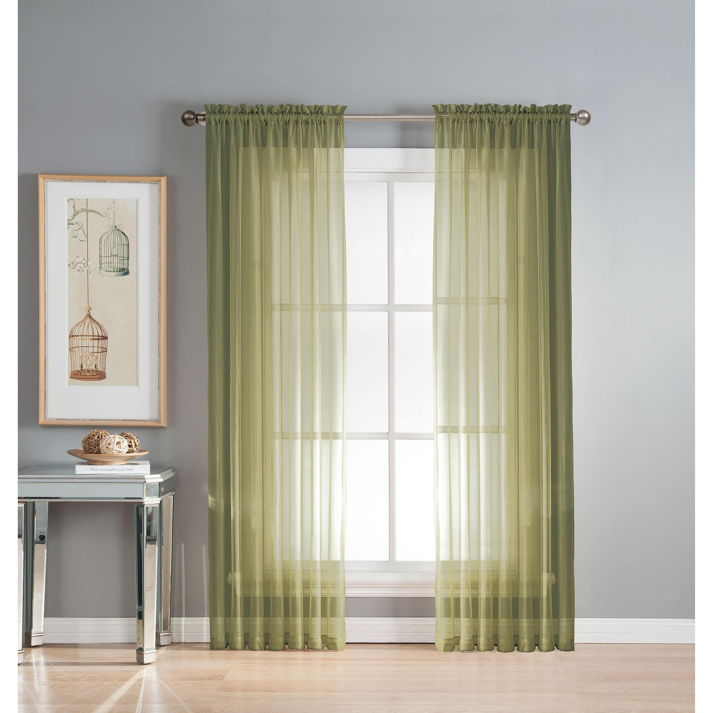 Curtis Sheer Voile Extra Wide Rod Pocket Curtain Panel Pair