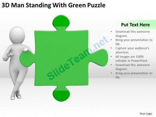 D Man Standing With Green Puzzle Ppt Graphics Icons Powerpoint