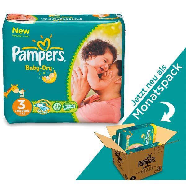 pampers baby dry windel 3 midi 4 9kg monatsboxjetzt neu pampers im monatspack so wird. Black Bedroom Furniture Sets. Home Design Ideas