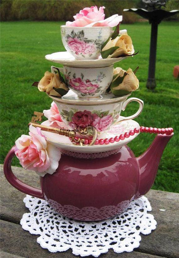 Romantic teapot floral teacup centerpiece faux roses for Tea party centerpieces