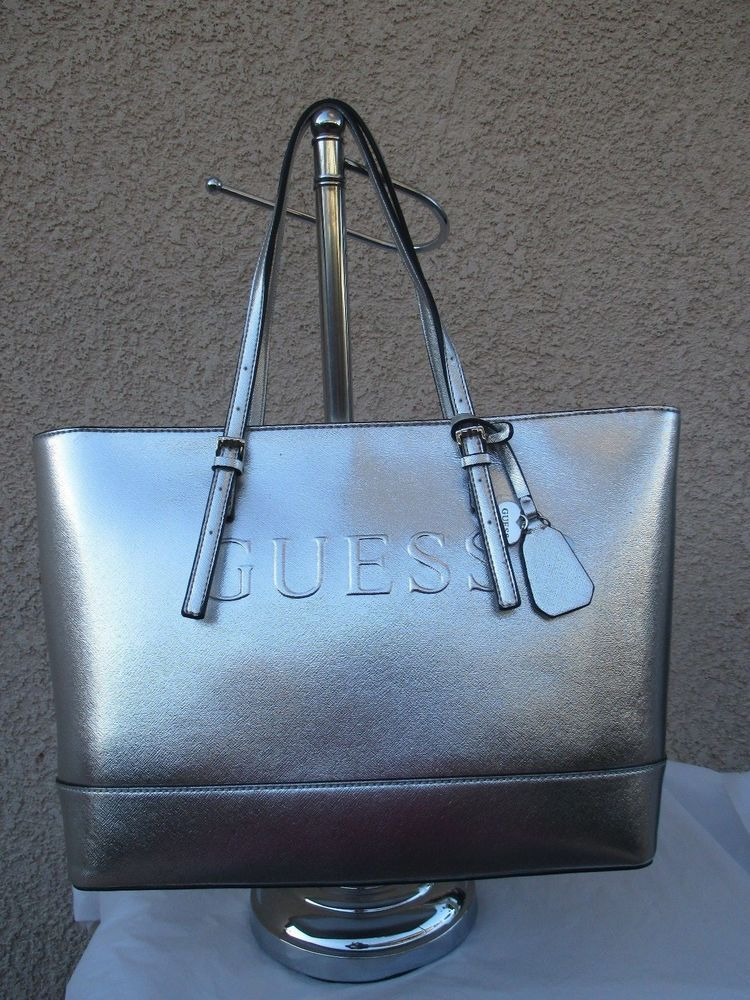 Purse Bag Handbag Guess Tote Color Silver Style FF628625 Group Peak Brand  New  GUESS  TotesShoppers 05429a7184656