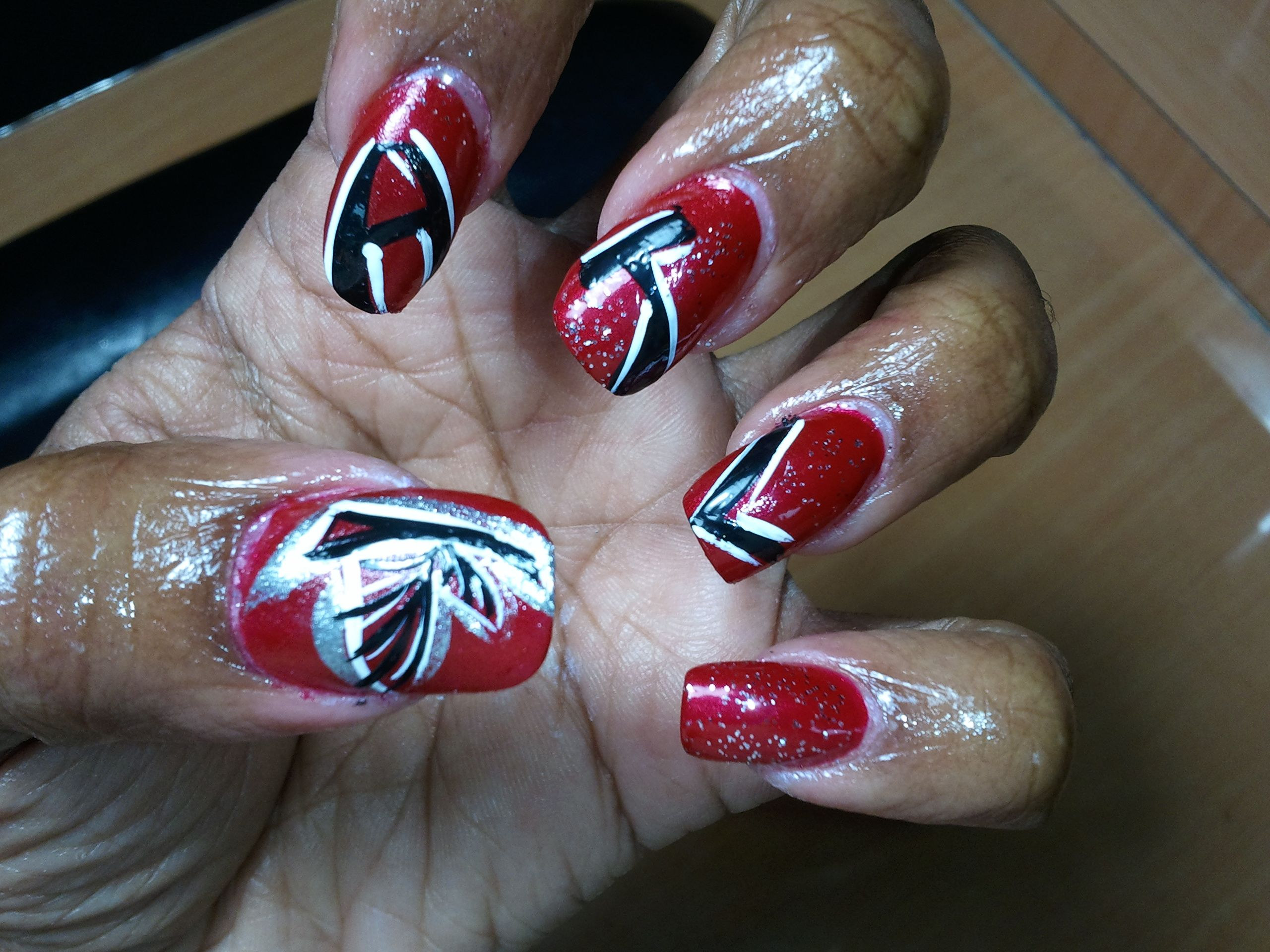 Atlanta Falcons Inspired Nail Art