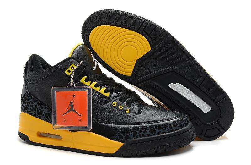 0c1e0a345efa Air Jordan 3 Black Cement Yellow New Jordans Shoes 2013