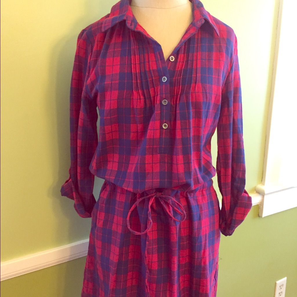 Flannel t shirts  Alta Flannel TShirt Dress With Cinched Waist  Pinterest  Flannels