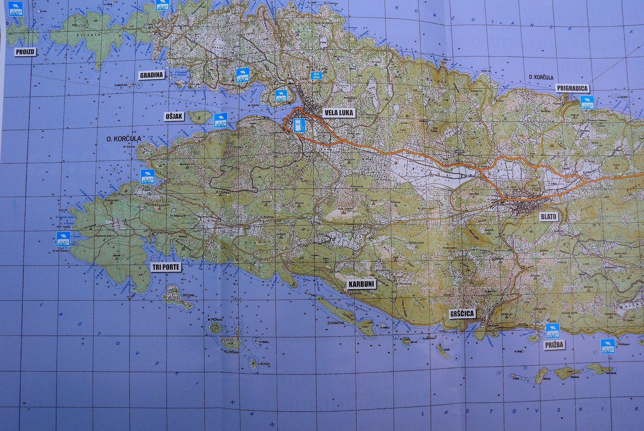 Road map of Korcula Vela Luka Croatia httpwwwhikenownet