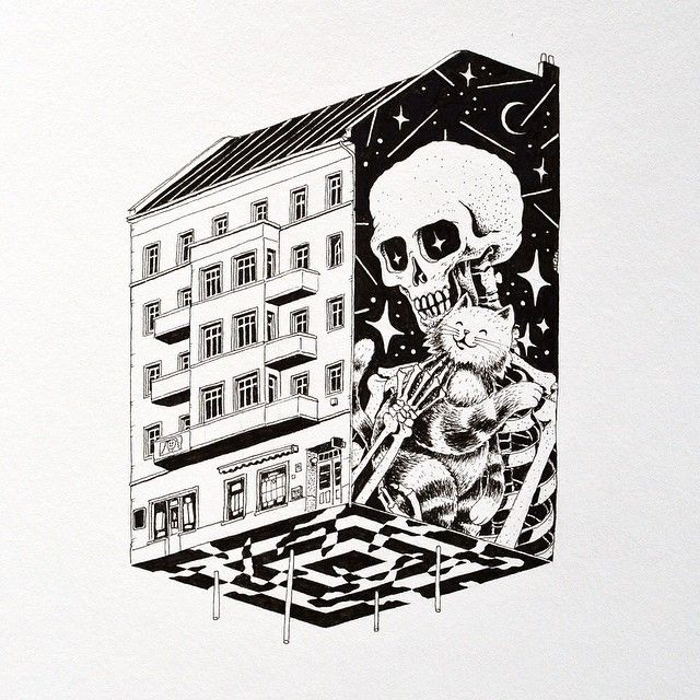 Thanks to everybody who  came to my show opening yesterday! It was massive fun! Cooool! Here's the last drawing from this show:  Petersburger Str.73 - 10249 Berlin - Mike & Möschi  Ink on paper  #vidam #theweird #mike #möschl #cat #skull #friedrichshain #bersarinplatz #ink #paper