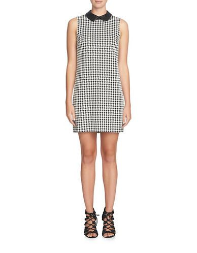 Cece Brynn Houndstooth Leather Collar Shift Dress Women's Black/White