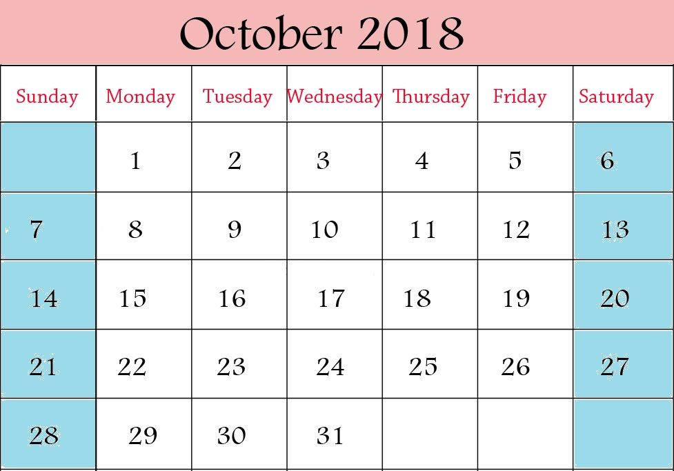 October Calendar 2018 Canada October 2018 Calendar Pinterest