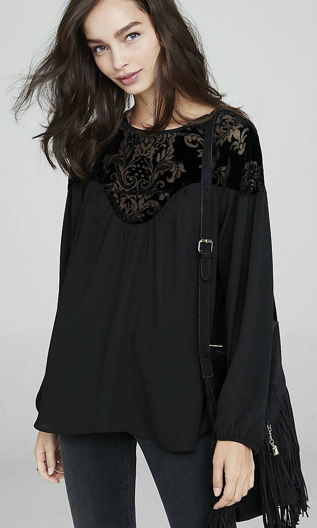 Black Velvet Burnout Yoke Blouse from EXPRESS