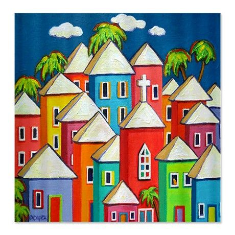 Little Village Colorful Caribbean Shower Curtain